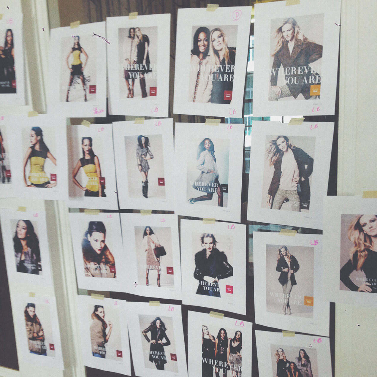 images of models hangin up on wall