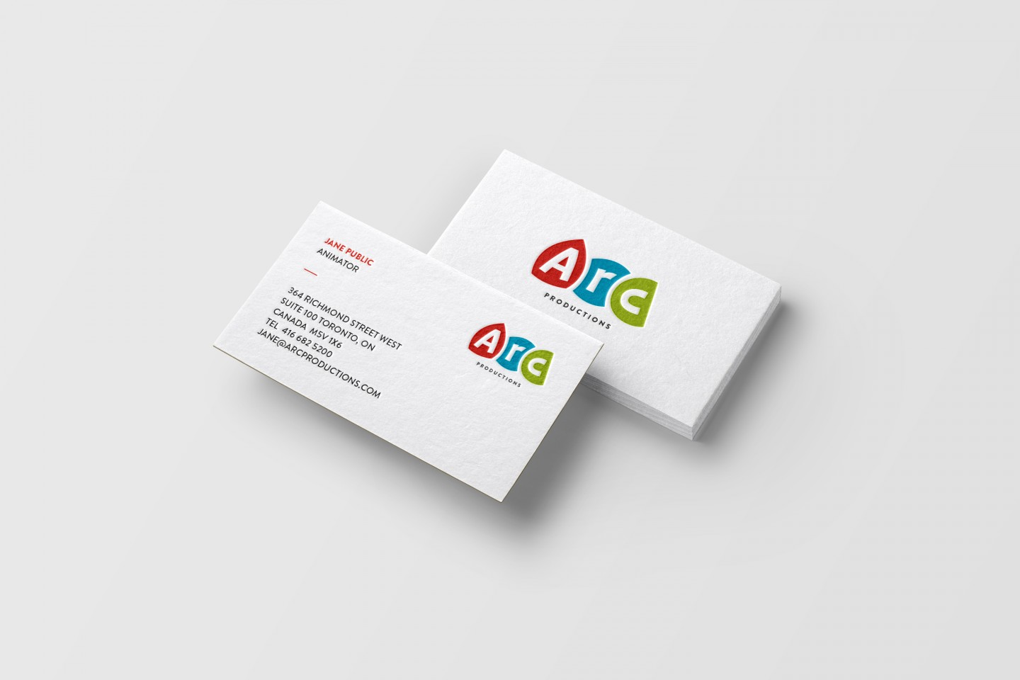 Arc Productions re-branding Business Card Mockup