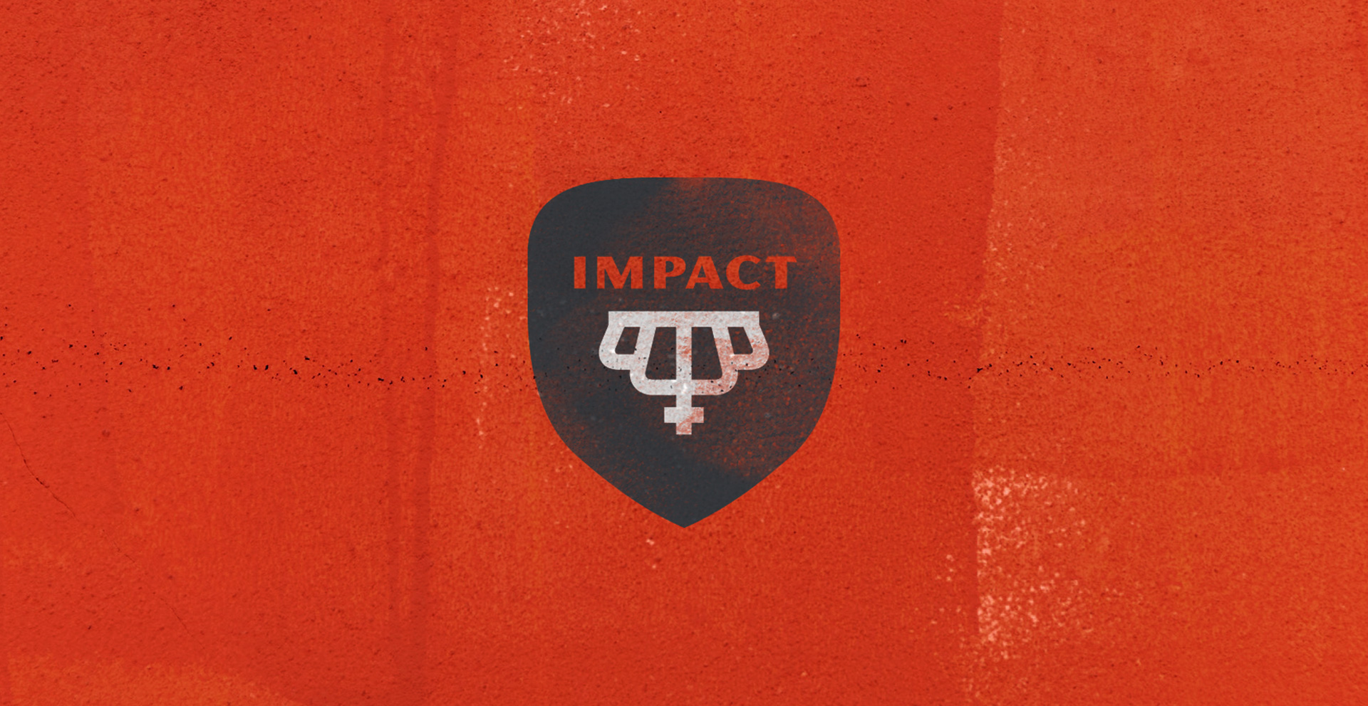 Impact Kitchen logo design red background